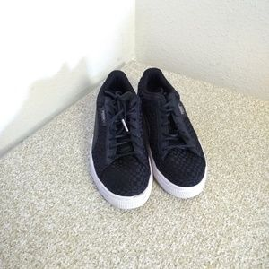 Puma Basket Black And Silver Woven Sneakers